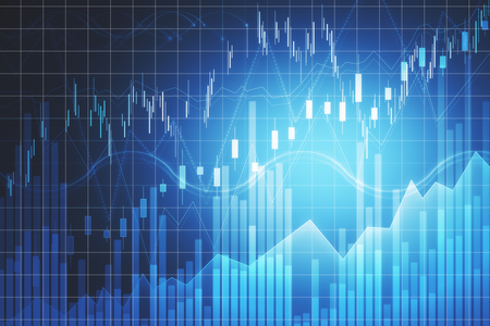 Concepto de comercio y finanzas. Telón de fondo de gráfico de forex creativo con líneas. Representación 3D Foto de archivo