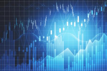 Handels- und Finanzkonzept. Kreativer Forex-Chart-Hintergrund mit Linien. 3D-Rendering Standard-Bild