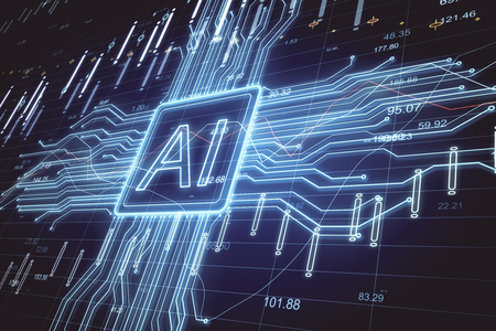 Creative AI background with forex chart. Artificial intelligence and stats concept. 3D Rendering