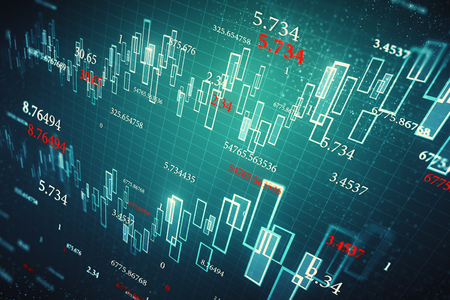 Creative glowing forex chart wallpaper with candlestick and index grid. Invest and finance concept. 3D Rendering