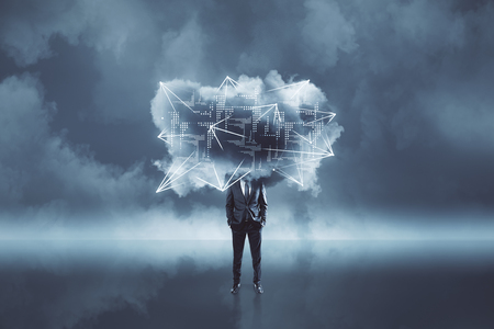 Businessman with digital cloud standing on cloudy background. Cloud computing and technology concept