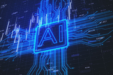 Sfondo AI creativo con grafico forex. Intelligenza artificiale e concetto di commercio. Rendering 3D Archivio Fotografico