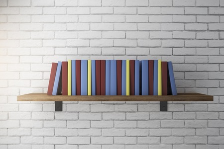 Stack of colorful books on shelf. Education Concept. 3D Rendering