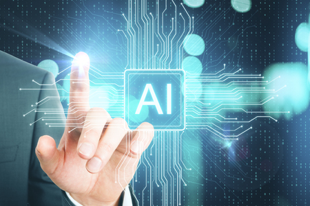 Hand pointing at creative AI chip on blurry blue binary code background. Artificial intelligence and software concept. Double exposure Stock Photo