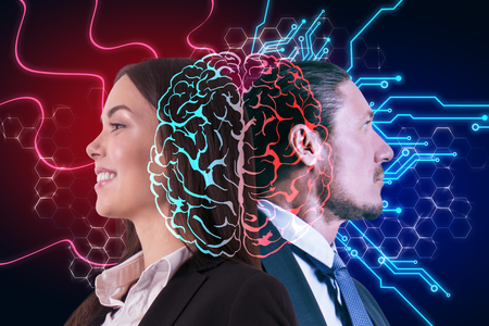 Side portrait of happy businessman and woman with digital brain. AI and machine learning concept. Double exposure
