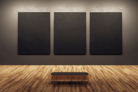 Modern dark exhibition hall interior with wooden floor and black banners on wall. Mock up, 3D Rendering