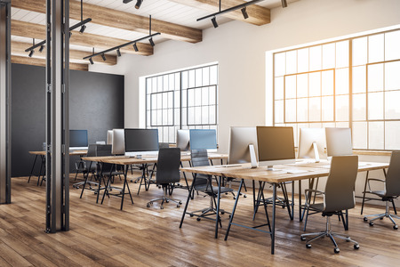 Luxury coworking office interior with furniture, equipment and daylight. 3D Rendering
