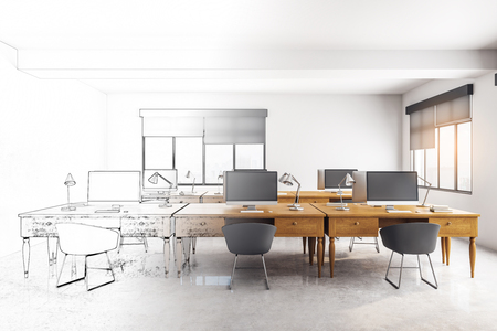Modern hand drawn coworking office interior. Workplace design concept. 3D Rendering