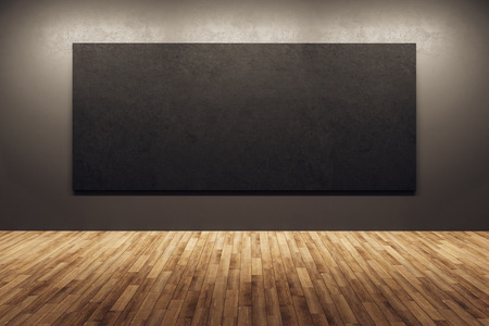 Modern dark exhibition hall interior with wooden floor and black poster on wall. Mock up, 3D Rendering 스톡 콘텐츠