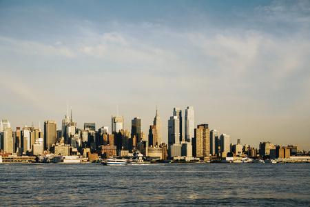 Beautiful New York waterfront city skyline. Modern tourism concept