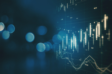 Creative forex chart on blue bokeh background. Finance and invest concept. Double exposure
