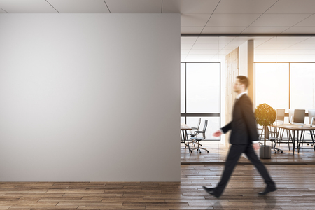 Side view of blurry businessman walking in modern office interior with copy space and sunlight. Toned image. Mock up,