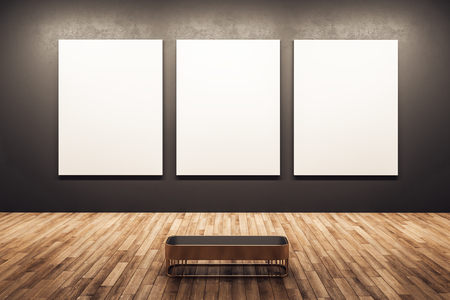 Modern dark exhibition hall interior with wooden floor and white banner on wall. Mock up, 3D Rendering