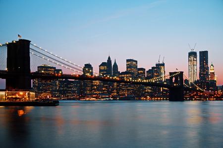 Beautiful dusk New York waterfront city skyline. Modern tourism concept