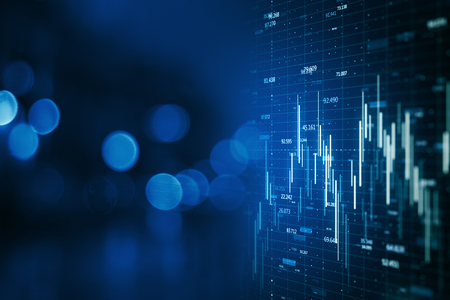 Creative forex chart on blue bokeh wallpaper. Finance and invest concept. Double exposure. 3D Rendering
