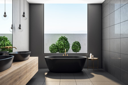 Contemporary concrete bathroom interior with sky view and decorative plants. Design concept. 3D Rendering