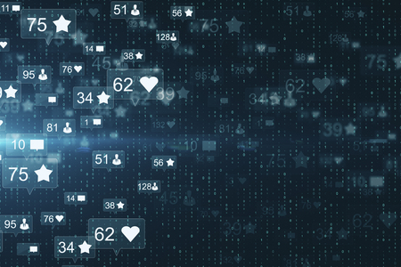 Creative social media network wallpaper with communication icons. Likes, shares and feedback concept. 3D Rendering