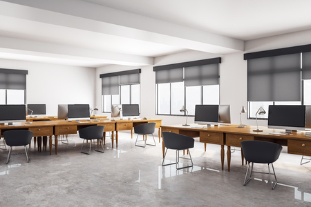 Clean concrete coworking office interior. Workplace and design concept. 3D Rendering