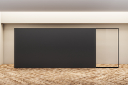 Modern wooden gallery interior with empty poster. Mock up, 3D Rendering Stockfoto