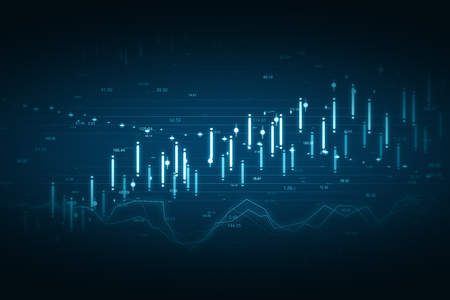 Creative glowing blue forex chart background with grid. Invest and finance concept. 3D Rendering Standard-Bild - 121775105