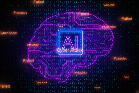 Creative digital brain background with circuit. AI and cyberspace concept. 3D Rendering