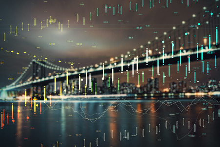 FInance and trade concept. Creative night city wallpaper with glowing forex chart. Double exposure