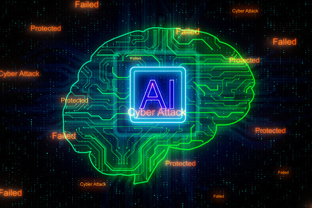 Creative digital brain background with circuit. AI and engineering concept. 3D Rendering