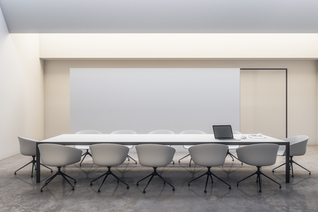 Modern white meeting room interior with copy space. Mockup, 3D Rendering