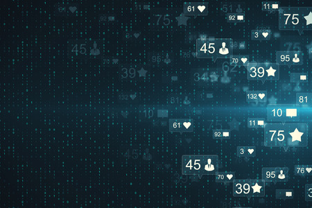 Abstract social media network background with communication icons. Likes, shares and feedback concept. 3D Rendering