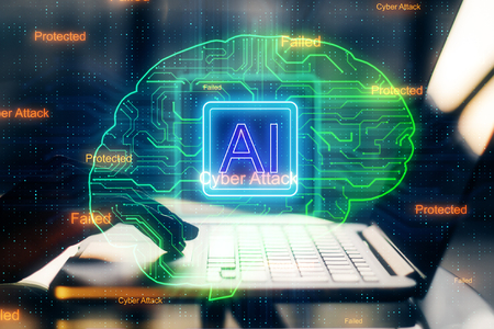 Side view and close up of hand using laptop with circuit brain hologram. Artificial intelligence and software concept. Double exposure