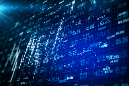 Blurry glowing blue forex chart background with grid. Invest and finance concept. 3D Rendering