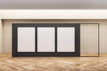 Modern wooden gallery interior with empty banner. Mock up, 3D Rendering