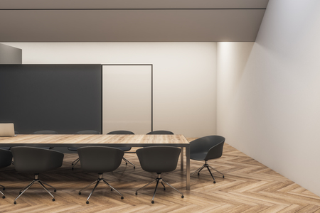Contemporary black wooden meeting room interior with furniture. 3D Rendering