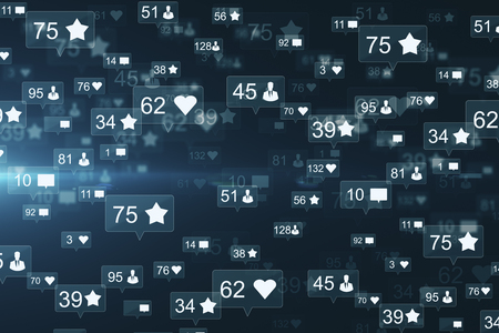 Creative social media network backdrop with communication icons. Likes, shares and feedback concept. 3D Rendering
