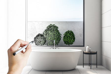 Hand drawing sketch of modern concrete bathroom interior with sky view and decorative plants. Design concept