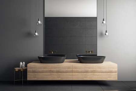 Contemporary concrete bathroom interior with mirror and sinks. Design concept. 3D Rendering