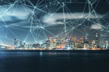 Night city skyline texture with polygonal connections. Social media and network concept. Double exposure Stock Photo