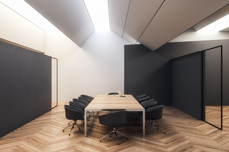 Modern black wooden meeting room interior with furniture. 3D Rendering Stock Photo