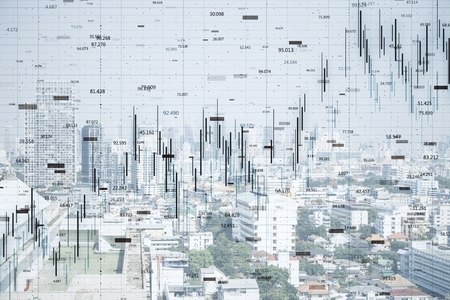 FInance and trade concept. Creative white city backdrop with forex chart. Double exposure