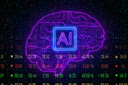 Creative digital brain background with circuit. AI and forex concept. 3D Rendering
