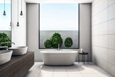 Modern concrete bathroom interior with sky view and decorative plants. Design concept. 3D Rendering