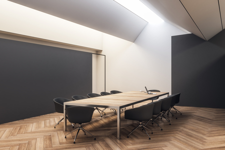 Modern black wooden conference room interior with furniture. 3D Rendering Фото со стока