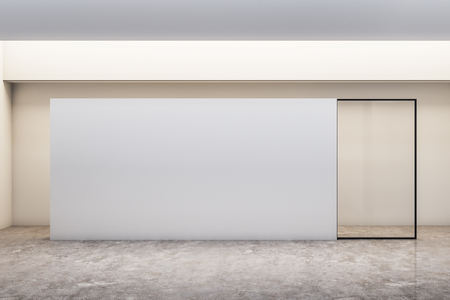 Modern white concrete gallery interior with empty poster. Mock up, 3D Rendering Фото со стока