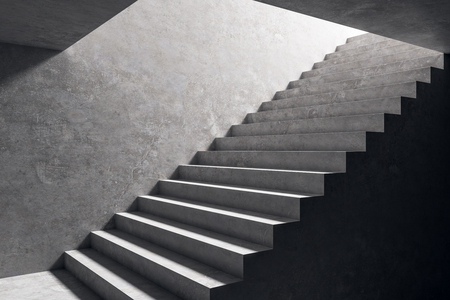 Concrete stairs in grey interior. Success and growth concept. 3D Rendering