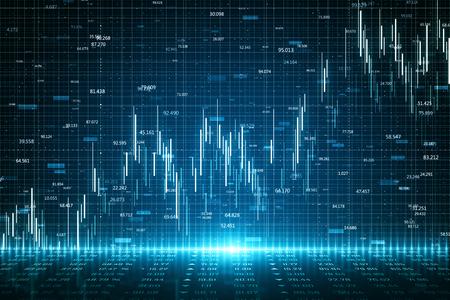 Fondo de gráfico de forex brillante abstracto con cuadrícula. Concepto de inversión y comercio. Representación 3D Foto de archivo