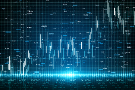 Abstract glowing forex chart backdrop with grid. Invest and trade concept. 3D Rendering Archivio Fotografico