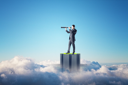 Businessman with telescope looking into the distance on abstract jigsaw pedestal on blue sky with clouds background. Success, quiz and vision concept Stok Fotoğraf