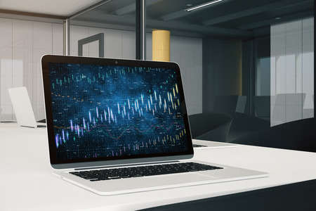 Close up of modern office workplace with laptop and forex chart. Trade and finance concept. 3D Rendering