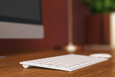 Close up and side view of computer keyboard on wooden desktop. Software and programming concept. 3D Rendering