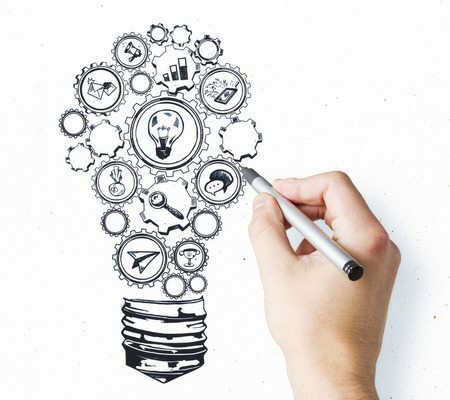 Creative hand drawn business sketch lamp on white background. Idea and seminar concept Stock Photo